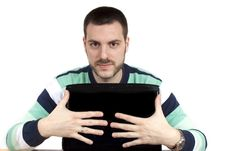 Free Young Man With A Laptop Royalty Free Stock Image - 9346476