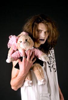 Free Gothic Boy With A Plush Toy Royalty Free Stock Photos - 9346558