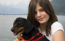 Free Girl With Dog Stock Photo - 9346920