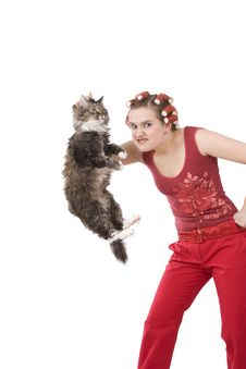 Housewife Is Holding Soil Cat. Stock Photos