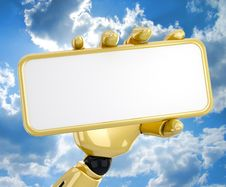 Robotic Hand Hold A Blank Plate Stock Photo