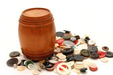 Wooden Keg On A  Background From Various Buttons Stock Image