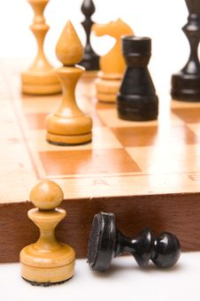 Free Chessmen On A Chessboard Stock Photos - 9349683