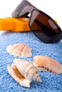 Free Towel, Shells, Sunglasses And Lotion Royalty Free Stock Photography - 9353127