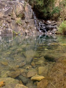 Mountain Pool And Waterfall Stock Images
