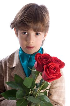 Free Portrait Of The Boy With A Bouquet From Three Rose Stock Photos - 9351213