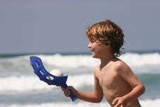 Free Boy Playing At Beach 2 Stock Images - 9351514