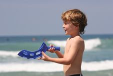 Free Boy Playing At Beach Stock Image - 9351521