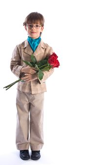 Free The Boy With Roses Stock Photography - 9351732