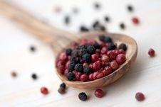 Free Multicolored Peppercorns In The White Olive-wooden Royalty Free Stock Image - 9353116