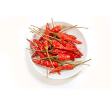 Free Bowl Of Red Peppers On White Stock Images - 9355144
