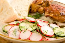 Free Baked Chicken Salad And Bread Royalty Free Stock Photos - 9355398