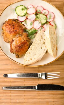 Free Baked Chicken Salad And Bread Royalty Free Stock Photo - 9355415