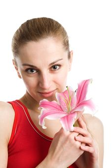 Free Nice Girl With A Pink Lily Stock Photos - 9355913