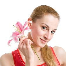 Free Nice Girl With A Pink Lily Royalty Free Stock Photo - 9355925