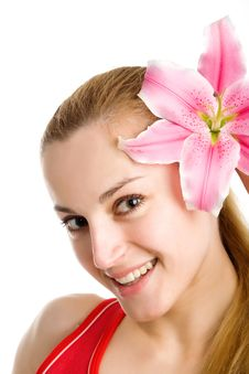 Free Nice Girl With A Pink Lily Stock Photo - 9355940