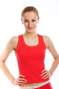 Free A Sporty Blonde In Red Leotard Stock Image - 9355981