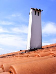 Red Roof With Red Tiles And Chimney Stock Images