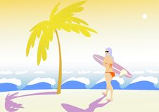 Girl With Surf. Royalty Free Stock Photography