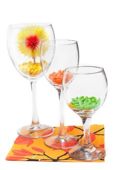 Three Glasses With Colour Sweetmeat Stock Photography