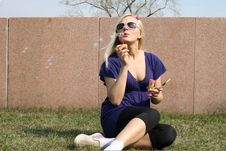 Free Girl Blowing Soap Bubbles Stock Photo - 9358490