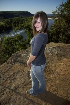 Free Playful Girl Above River Stock Image - 9358681