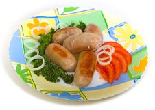 Free Meat Sausages And Tomato Stock Image - 9358711