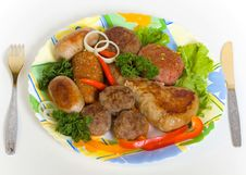 Free Meat Cutlets And Small Sausage Stock Photography - 9358832