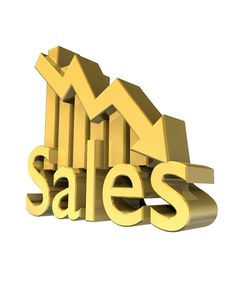 Free Sales Statistics Graphic In Gold Royalty Free Stock Photo - 9359485