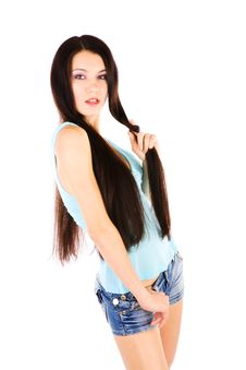Playing With Long Hair Royalty Free Stock Images