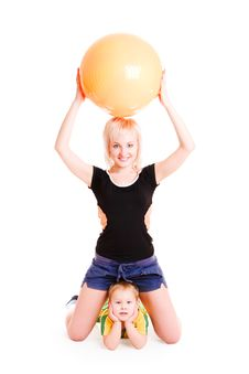 Free Mother And Small Son Going In For Sports Royalty Free Stock Photography - 9359957
