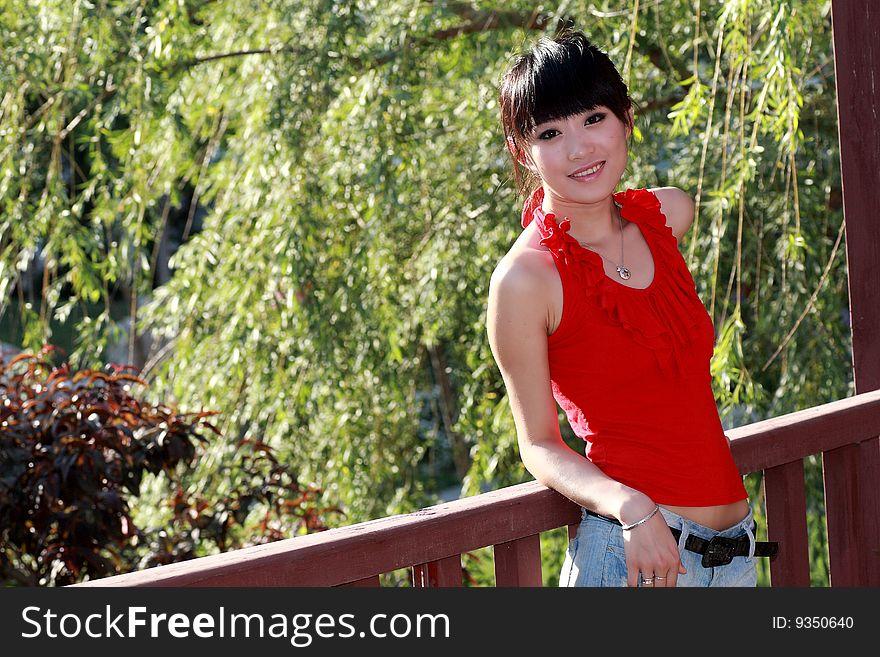 Asian girl outdoors.