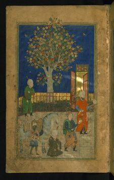 Free Collection Of Poems &x28;divan&x29;, Double-page Illustrated Frontispiece Depicting A Court Scene, Walters Art Museum Ms. W.628, Royalty Free Stock Images - 93553319