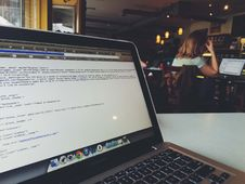 Free Laptop On Coffee Shop Table Royalty Free Stock Image - 93557406