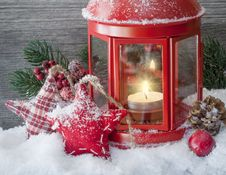 Free Christmas Decorations And Red Lantern Stock Photo - 93557860