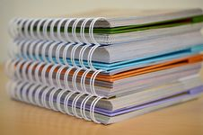 Free Stack Of Coil Bound Books Stock Photos - 93558033