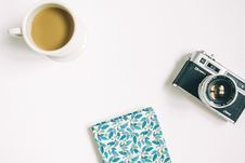 Free Coffee, Film Camera And Notebook Royalty Free Stock Photo - 93559655