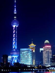 Free Illuminated City Skyline At Night Stock Image - 93559661