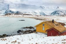 Free Cabins Surrounded By A Frozen Landscape  Stock Image - 93559981