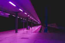 Free Railway Station In Purple Lighting Royalty Free Stock Photos - 93561878