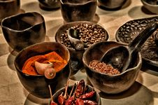 Free Black Ceramic Bowl With Different Kinds Of Condiments Stock Photos - 93562673