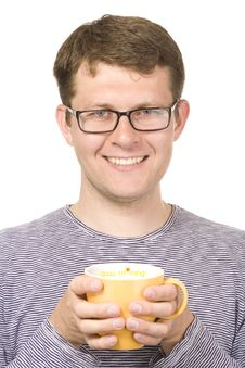 Free A Smiling Man With A Yellow Cup Royalty Free Stock Image - 9361116