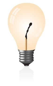 Free Light Bulb With A Match. Royalty Free Stock Photography - 9361157