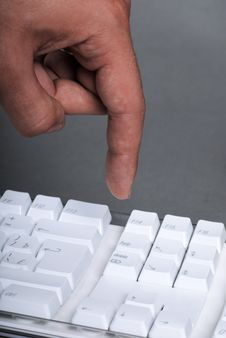 Free Male Hand On The White Keyboard Royalty Free Stock Image - 9361566