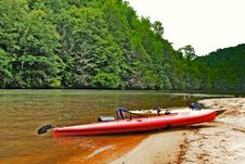 Kayaks On The River Beach Area Stock Images