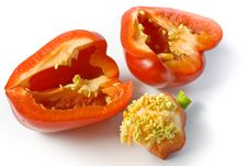 Free The Red Pepper Cut On Two Halves Royalty Free Stock Image - 9363276