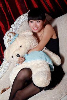 Free Asian Girl Watching TV Royalty Free Stock Image - 9364306