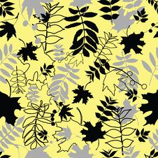 Free Seamless Black Leaves Royalty Free Stock Image - 9364396