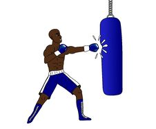 Boxer And Punching Bag Royalty Free Stock Photography