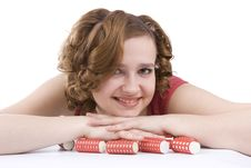 Free Woman With Curlers In Her Hair. Stock Image - 9365551